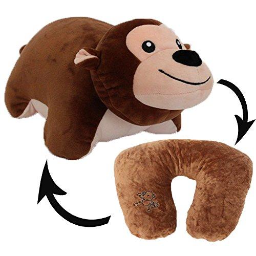 GA Creatives 12Inch Portable Animal Monkeys Doll Convertible U-shaped Neck Pillow Baby Plush Toy Multifunctional Travel Neck Cushion
