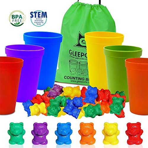 Gleeporte Colorful Counting Bears with Coordinated Sorting Cups  Sorting Math Skills  67 Pcs Set  60 Bears  6 Cups  Storage Bag Ages 4