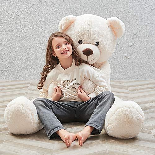 MorisMos Giant Teddy Bear Stuffed Animals Plush Toy White Teddy Bear for Girlfriend Kids White 55 Inch