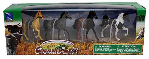 Country Life Farm Animal Set Four Horses With Saddles 05593E