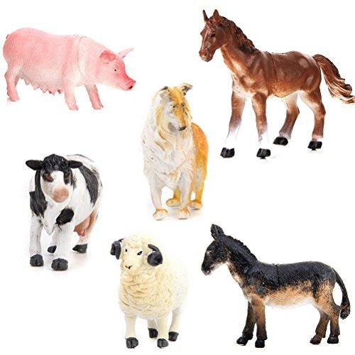 ROSENICE 6pcs Mini Farm Animal Figures Toy Set Pig Dog Cow Sheep Horse Donkey