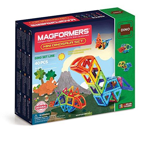 Magformers Mini Dinosaur Set 40 Pieces Rainbow Colors Magnetic    Building      Blocks Educational  Magnetic    Tiles Kit  Magnetic    Construction  STEM Animal Toy Set