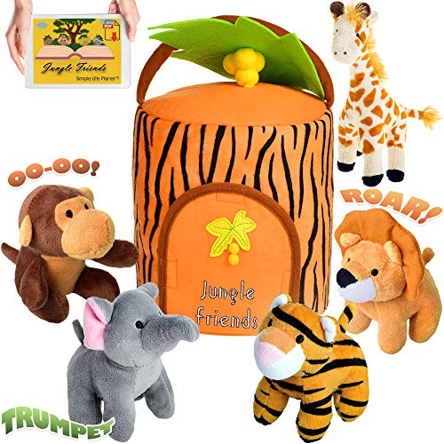 Plush Jungle Animals Toy Set  Carrier  e-Book  Realistic Sounds Improved Design for Babies Toddlers  Stuffed Giraffe Elephant Monkey Tiger Lion Animal House  e-Book