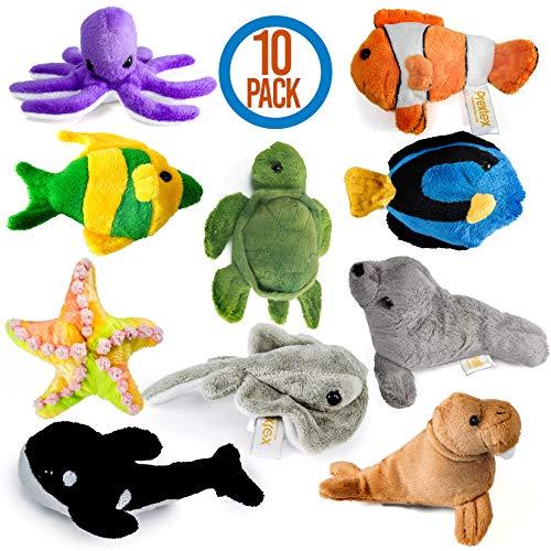 Prextex 10 Piece Plush Soft Stuffed Sea Animals Playset Plush Sea Life Assortment Turtle Stingray Nemo Fish Killer Whale and More