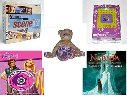 Girls Gift Bundle - Ages 6-12 5 Piece - Scene It DVD Game Turner Classic Movie Channel Edition - Fun Digital Funky Frames Toy - Grand Jete Pose Ballerina Bear Purple Tutu Plush 12 - Disney Pa