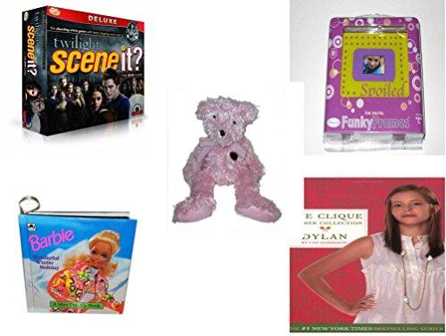Girls Gift Bundle - Ages 6-12 5 Piece - Scene It Twilight Deluxe Edition Game - Fun Digital Funky Frames Toy - American Greeting Pink Bear Plush 12 - Barbie Wonderful Winter Holiday Mini Pop-u