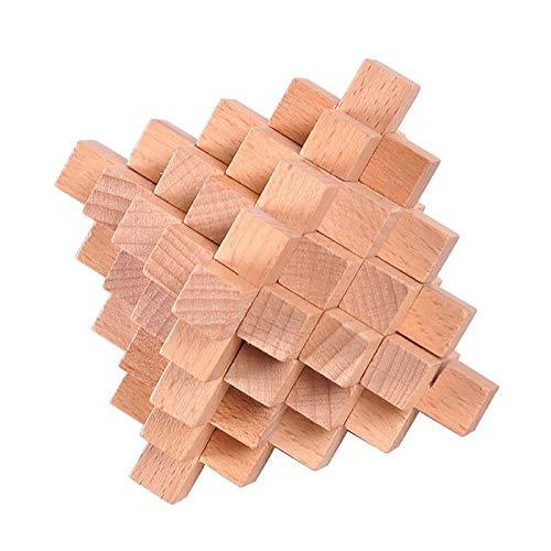 Ahyuan Handmade Wooden Puzzle 33 PCS Interlocking Brain Teasers Toy Intelligence Game Wisdom Logic Mind Challenge Brainteaser Scientific Training Burr Puzzles for AdultsKids
