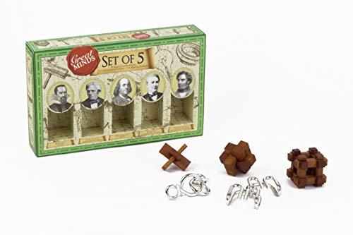 Professor Puzzles Great Minds Brain Teaser Puzzle Set  5 Piece  3 X Wooden Brain Teaser Puzzle and 2 X Metal Entanglement PuzzlesMale