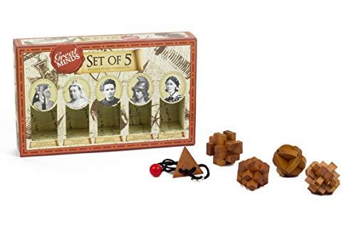 Professor Puzzles Great Minds Brain Teaser Puzzle Set  5 Piece 3D Wooden Brain Teaser Puzzles  Womens