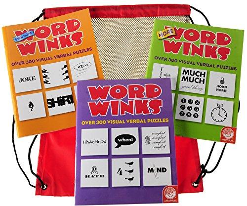 Word Winks Puzzle _ Three Book Set _ Original More Even More Word Winks from Mindware _ Bonus Black MeshRed Nylon Drawstring Carry Bag _ Bundled Items