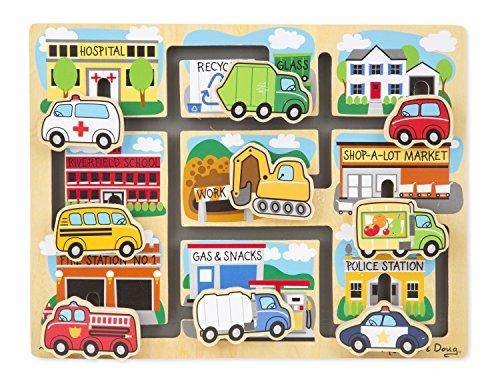 Melissa Doug Deluxe Wooden Vehicles Maze Puzzle