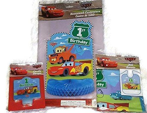 Disney Pixar CARS 1st Birthday Party Bundle- Lightning McQueen Candle Bib and Centerpiece