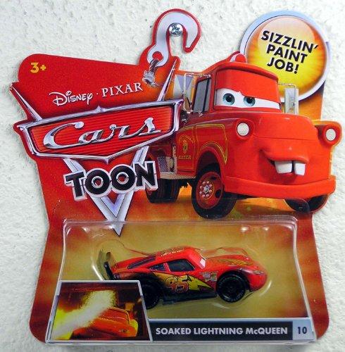 SOAKED LIGHTNING MCQUEEN 10 Disney  Pixar CARS 155 Scale Cars Toon Die-Cast Vehicle