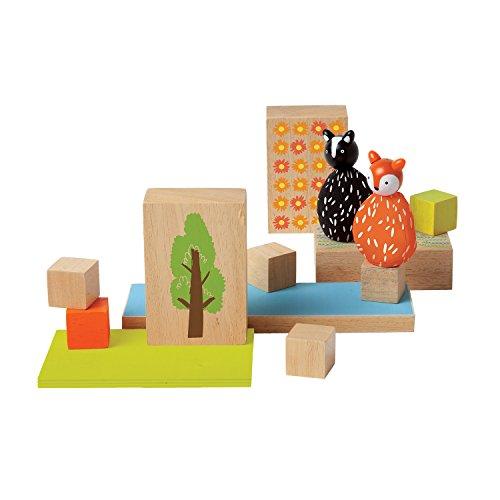 Manhattan Toy 213810 MiO Woodland  Fox  Skunk Modular Wooden Building Set Playset