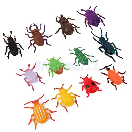Sangdo 12pcs Plastic Mini Insects Bugs Animals Model Figurine Kids Playset Toy
