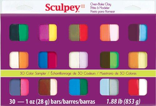 Sculpey III Oven Bake Clay Sampler 1oz 30pkg