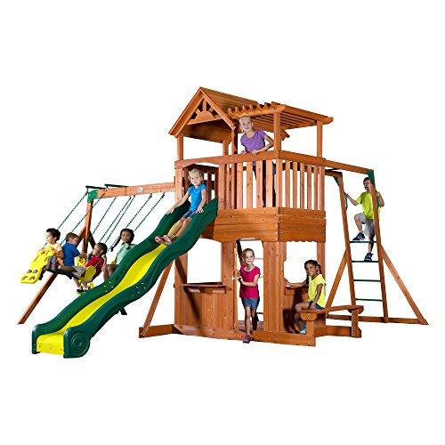 Backyard Discovery Thunder Ridge All Cedar Wood Playset Swing Set