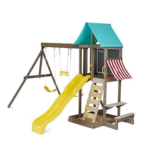 KidKraft Newport Kids Wooden Outdoor Playset Swing Set with Slide and Sand Box