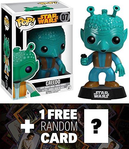 Greedo Funko POP x Star Wars Vinyl Bobble-Head Figure w Stand  1 FREE Official Star Wars Trading Card Bundle 60442
