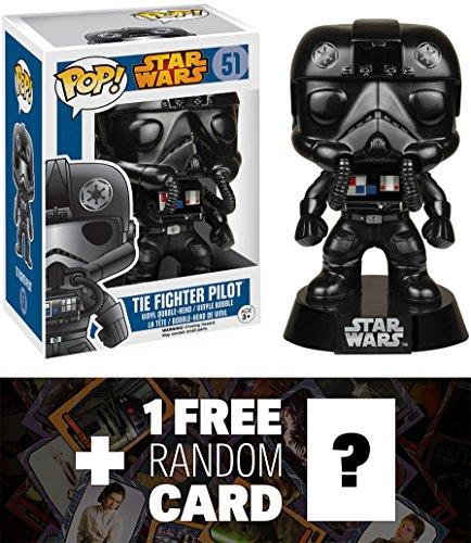 Tie Fighter Pilot Funko POP x Star Wars Vinyl Bobble-Head Figure w Stand  1 FREE Official Star Wars Trading Card Bundle 57138