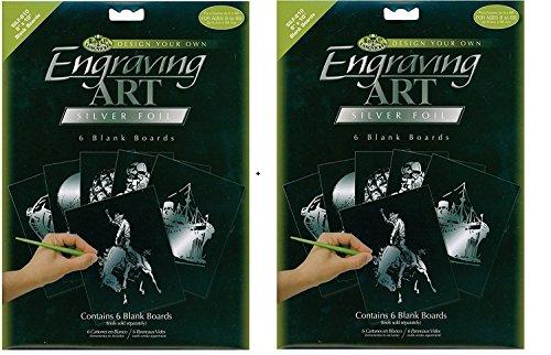 Silver Foil Engraving Art Blank Boards 8 x 10 Package of 12 Boards