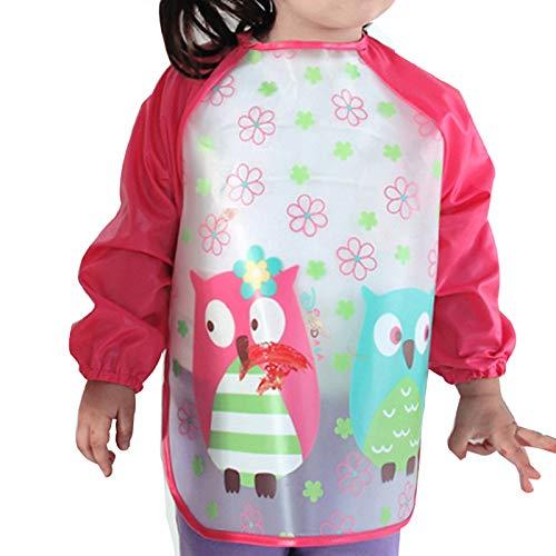 Aisa Children Kids Waterproof Long-sleeved Smock Apron Bib for Eating Painting Red Owl