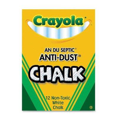 Crayola Nontoxic Anti-Dust Chalk White 12 SticksBox 50-1402 Case of 72 Dozens