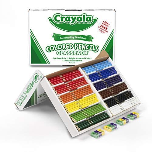 Crayola Colored Pencils Bulk Classpack Classroom Supplies 12 Assorted Colors 240 Count