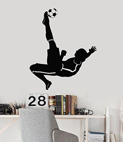 Vinyl Decal Soccer Player Kids Room Boys Decor Sports Art Wall Stickers ig2955 Black