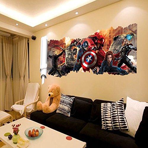 wall decals for kids rooms boys skateboard  DC Comics Marvel The Avengers Wall Sticker Team Hulk Decal Decoration Wallpaper