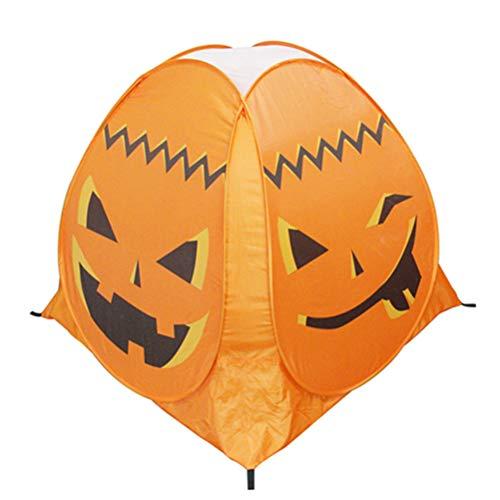 Amosfun Pumpkin Tent Halloween Party Props Kids Indoor Outdoor Playhouse Castle Game Tent Children Haunted House Halloween Ghost Festival Prop Orange