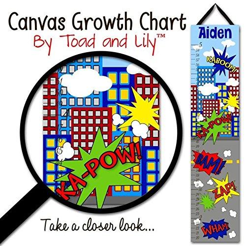 Canvas GROWTH CHART Super Hero Kids Boys Bedroom Kids Baby Nursery Wall Art GC0117