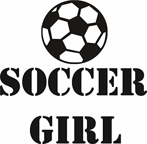 Design with Vinyl RAD 1219 1 Soccer Girl Ball Player Sports Kids Boy Bedroom Vinyl Wall Decal 12 x 12 Black