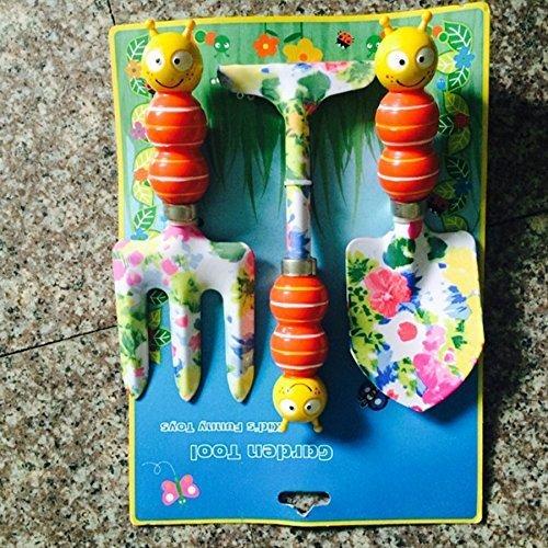 Funny-home Cartoon High Quality 3-Piece kids Garden Tool Set orange bee
