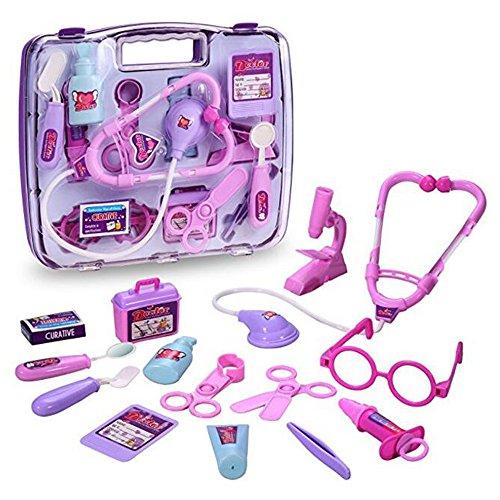 Bridgic Children educational simulation doctor toys pretend playset nurse medical kit for kids pink color