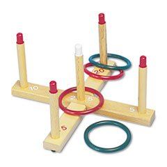 -- Ring Toss Set PlasticWood Assorted Colors 4 Rings5 PegsSet