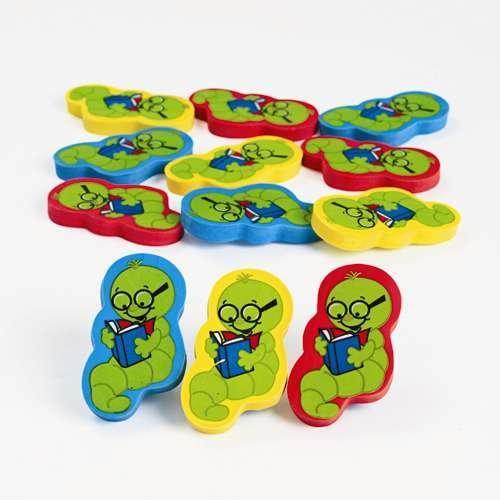 Bookworm Erasers - 12 per unit