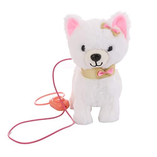 XGao Electric Walking Dog Toys Interactive Puppy Plush Toys Battery Powered Cute Robot Puppy Stuffed Animal Dog Toys Toddler Kids Girl Toys White
