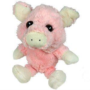 Plush PinkWhite Pig - Stuffed Animal - Big Eyed - 9 Inches Sitting - 15 Inches Head to Toe