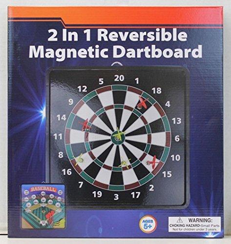 2-in-1 Reversible Magnetic Dartboard with Standard Darts Baseball Game