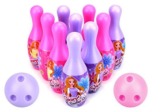 VT Princess Sport Childrens Mini 12 Piece Toy Bowling Set w 10 Pins 2 Bowling Balls