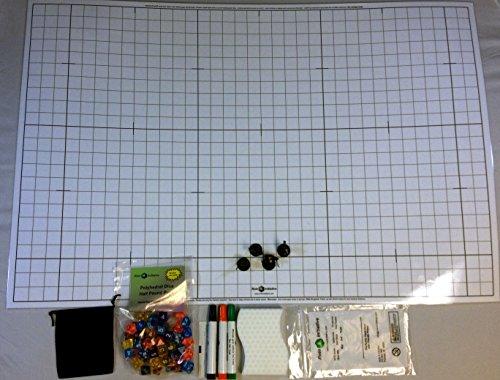 RPG Gamers Kit Basic 1 Dry Erase Battlemat Half-pound 50 Polyhedral Dice 3 Markers 1 Eraser 4 D&D Miniatures and a Dice Bag
