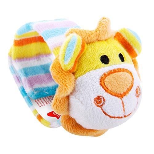 Newborn Kids Plush Toys Baby Wrist Rattles Jungle Plush Rattles - Lion