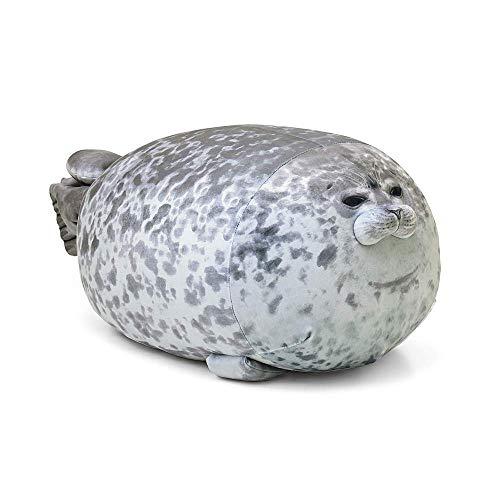 szkn Cute Pillows Blob Seal Plush Pillow Round Chubby Soft Hug Plush Stuffed Seal Cushion Cotton Animal Plush Toy Gray Medium