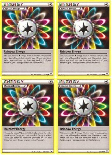 x4 Rainbow Energy XY 131146 Pokemon Card Playset Special Energy