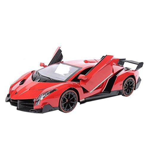 RW Radio Remote Control Lamborghini Veneno 114 Scale Sport Racing RC Car with Control Lever Red