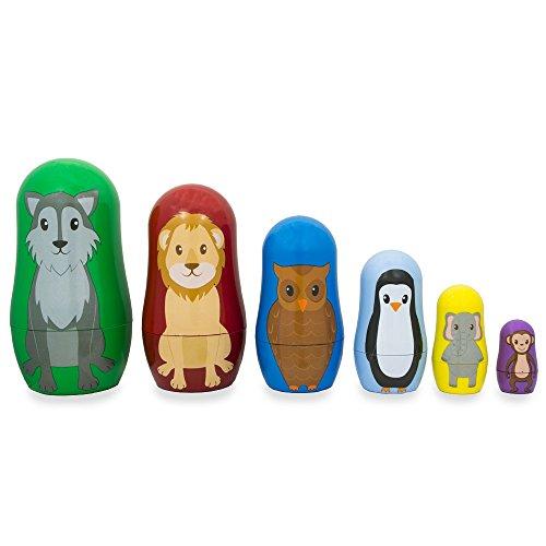 45 Set of 6 Wolf Lion Owl Penguin Wild Animals Plastic Nesting Dolls