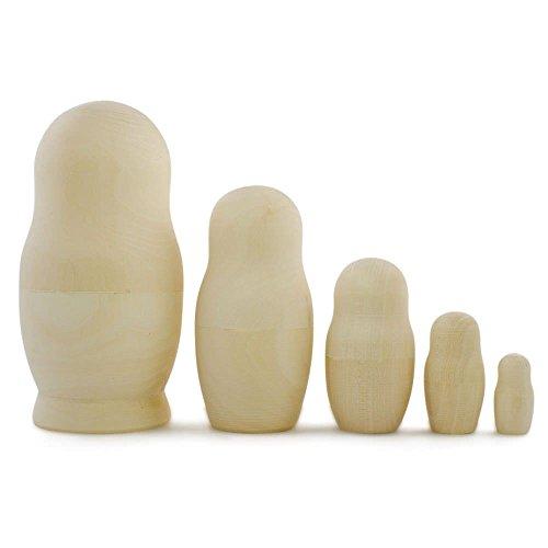 575 Set of 5 Blank Unpainted Wooden Russian Nesting Dolls