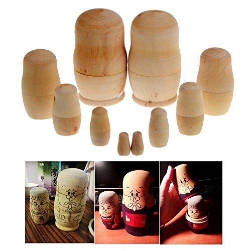 5pcsset Unpainted DIY Blank Wooden Embryos Russian Nesting Dolls Matryoshka Toy