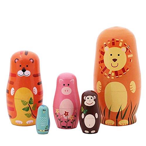 Jollylife 5pcs Nesting Doll Handmade Wooden Cute Cartoon Animals Pattern 6